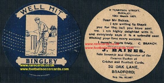 1921 Bingley Burnley letter back cricket ball Baines sports card